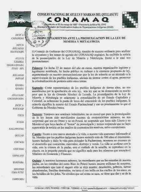 PRONUNCIAMIENTO CONAMAQ LEY MINERA 1